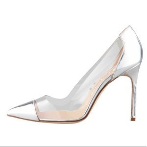 Auth MANOLO BLAHNIK silver and clear PVC pumps